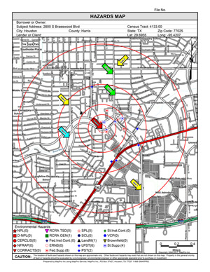 MapPro Real Estate Mapping Software Environmental Hazard Map